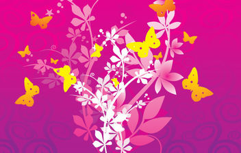 Flowers and butterflies - vector gratuit #168827