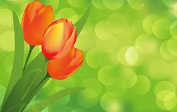 Flower with Green Background Vector Art - vector #168987 gratis