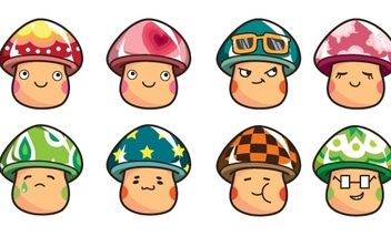 Cartoon Mushrooms Vector Set - Free vector #169027