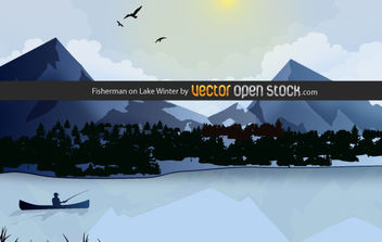 Fisherman on Lake Winter - vector #169417 gratis