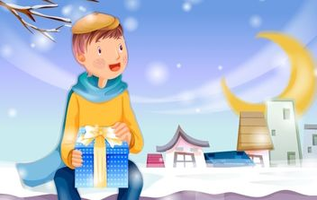 Christmas card with gifts - Free vector #169477