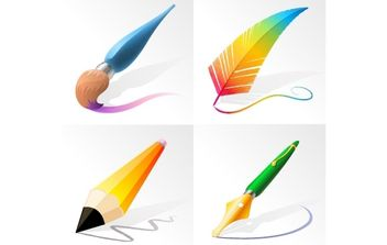 Drawing and Painting Tools - vector #169617 gratis