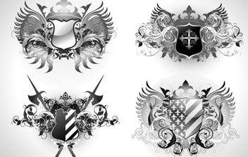 Ornate heraldic shields - Free vector #169667