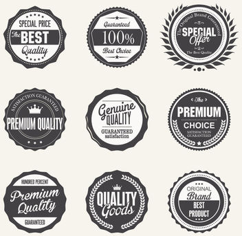 Vintage Black & White Quality Badges - Free vector #170387