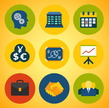 Abstract Business Icons Colorful Circles - Free vector #170507