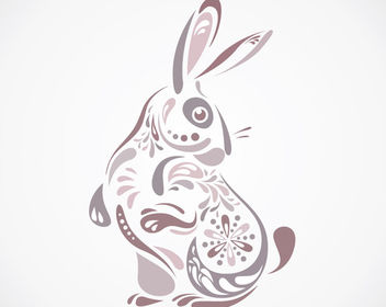 Decorative Floral Formed Bunny Easter - vector gratuit #170537