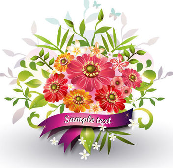 Flower Bouquet with Ribbon Greeting - vector #170567 gratis
