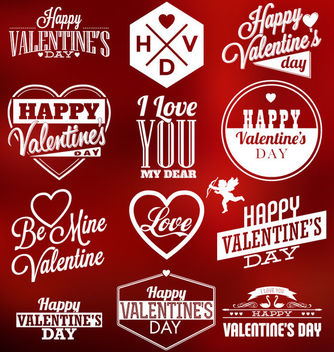 Valentines Typography & Labels Pack - Free vector #170627