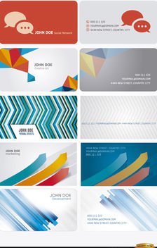 10 Modern abstract business cards - Free vector #170657
