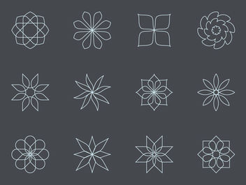 Thin Linen Abstract Floral Icon Set - Free vector #170727