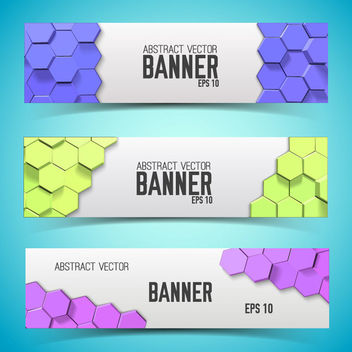 Multicolor Honeycomb Banner Set Template - vector gratuit #170757
