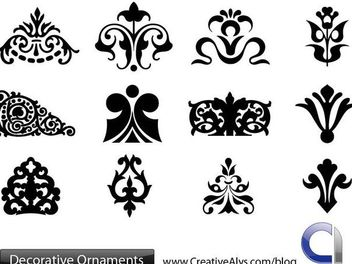 Decorative Silhouette Floral Ornament Set - Free vector #170867