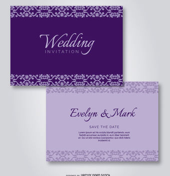 Purple Elegant Wedding Invitation - vector #171417 gratis