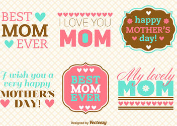 Mother's Day Vintage Message Pack - Free vector #171457