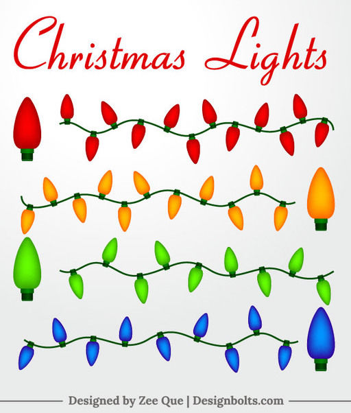 Colorful Christmas Decoration Lights - Free vector #171547