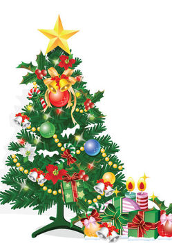 Decorative Spruced Christmas Tree with Gift Boxes - vector #171567 gratis