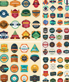 Modern & Vintage Abstract Label & Badge Pack - бесплатный vector #171607