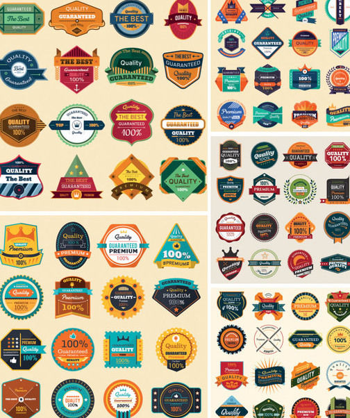 Modern & Vintage Abstract Label & Badge Pack - Free vector #171607