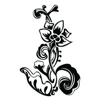 Abstract Black & White Small Floral Ornament - vector gratuit #171617