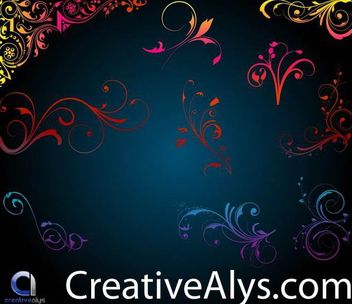 Small Floral Ornaments and Corners - vector #171627 gratis
