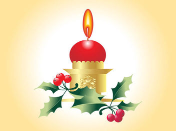 Christmas Candle with Festive Plants - Free vector #171817