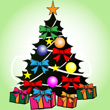 Decorative Xmas Tree with Presents - vector #171847 gratis