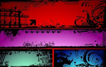 Horizontal Grungy Banner Design Set - vector #171907 gratis