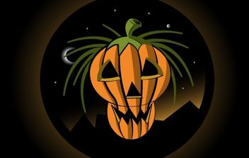 Halloween Pumpkin with Moonlight Sky - Kostenloses vector #171957