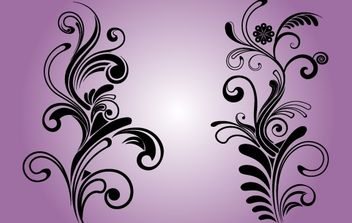 B&W Floral Decorative Ornaments - Free vector #171977