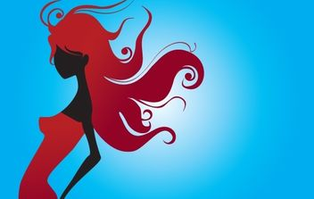 Red Silhouette Girl with Swirl Hair - vector gratuit #172147