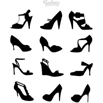Ladies Shoe Pack Silhouettes - vector #172947 gratis