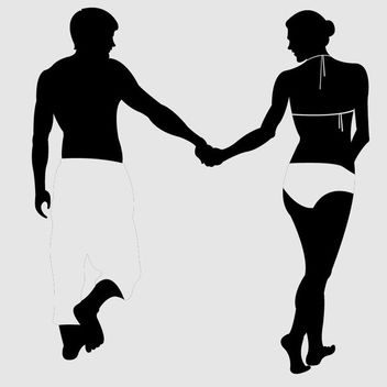 Beach Couple Silhouette - Free vector #173077