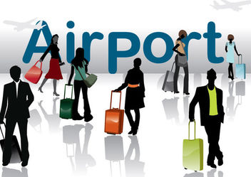 Silhouette Travel People in the Airport - vector gratuit #173107