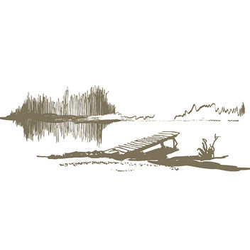 Abstract Lake & Dock Landscape Sketch - бесплатный vector #173147