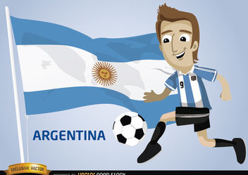 Argentina football cartoon character flag - Free vector #173397