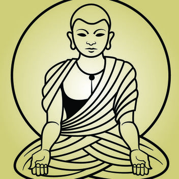 Line Art Buddhist Monk - Free vector #173567
