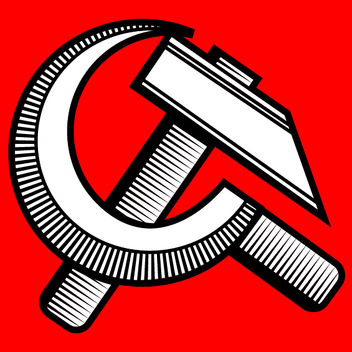 Retro Black & White Communist Sign - Free vector #173577