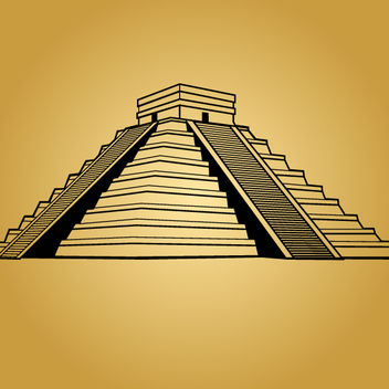 Black & White Mayan Pyramid - Free vector #173587