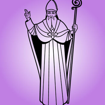 Line Art Black or White Saint Nicholas - Free vector #173597