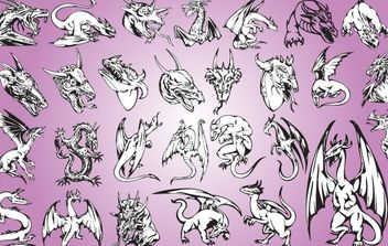 Artistic Style Dragon Pack - Free vector #173697
