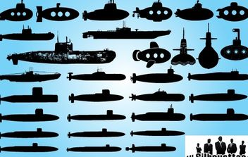 Submarine Ship Pack Silhouette - vector gratuit #173717