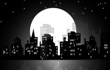 High Rise Moonlight City - vector gratuit #173777