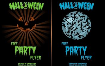 Pumpkin & Bat 2 Halloween Flyers - vector gratuit #173787