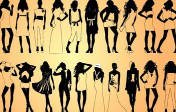 Girls Model Pack Silhouette - vector gratuit #173927