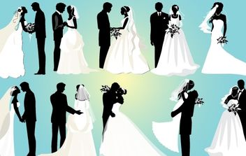 Marriage Couple Black and White Pack - Free vector #173937