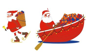 Santa skates and boat - Free vector #174017