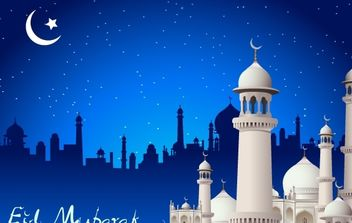 Islamic Greetings with Mosque - Free vector #174117