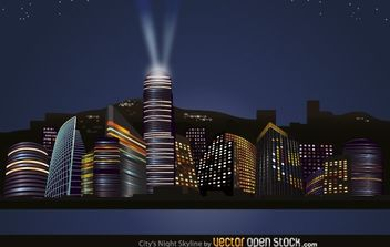 City Nights Skyline - vector gratuit #174837