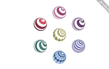 7 Free Spiral Vector Spheres - Free vector #174977