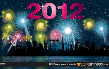 2012 fireworks party night - vector gratuit #175067